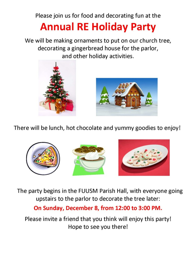 Please join us for food and decorating fun at the Annual RE Holiday Party.
