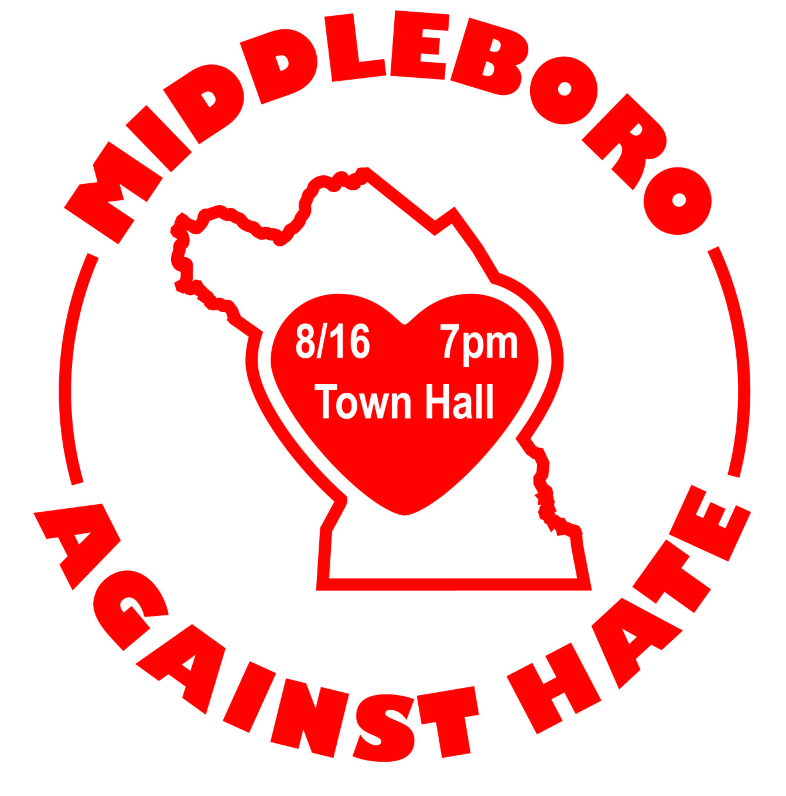 Middleboro Against Hate Rally, Wed 8/16/2017 at 7pm at Town Hall